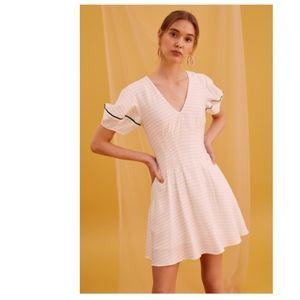 KEEPSAKE FEVER White Stripe Fit Flare Dress NWT 6